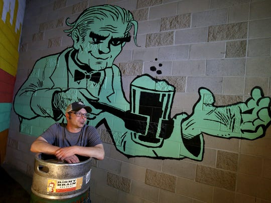 Right Brain Brewing Company owner Russell Springsteen at his brewery and restaurant in Traverse City, Michigan on May 26, 2017.