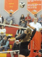 Buffalo Gap's Emily Hanger goes on the attack during