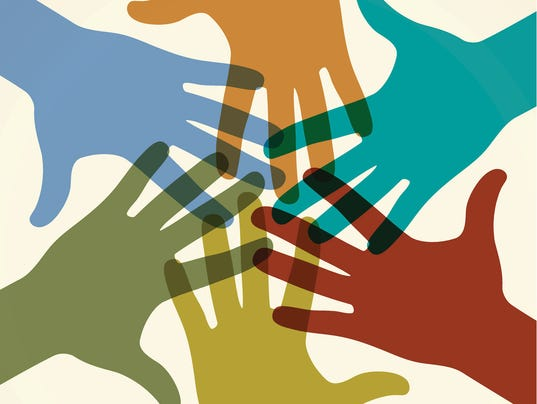 Group of colored raised hands