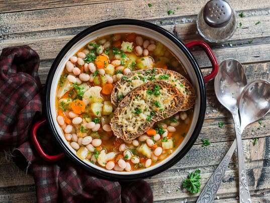 Vegetable bean soup and parmesan cheese toasts
