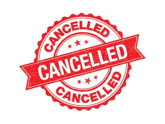 Cancelled grunge retro red isolated stamp