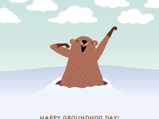 Happy Groundhog Day design with cute groundhog waking up.