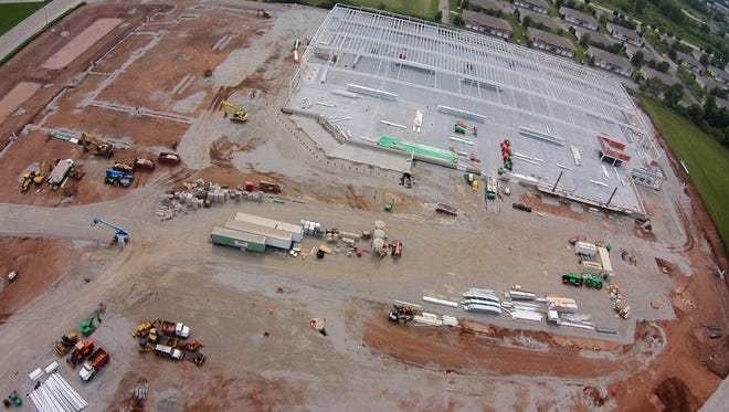 An aerial view shows progress on Costco Wholesale in Grand Chute. The construction site is west of Menards on West Integrity Way.