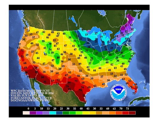 Forecast high temperatures for Valentine's Day, Sunday