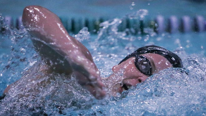 Appoquinimink sophomore Alexis Delonno churns to victory in the girls 200-yard freestyle in a time of 2:00.15 at the Blue Hen Conference championships on Saturday at McKean High School.