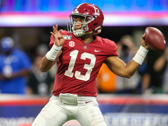 Aug 31, 2019; Atlanta, GA, USA; Alabama Crimson Tide quarterback Tua Tagovailoa (13) throws a pass against the Duke Blue Devils in the third quarter at Mercedes-Benz Stadium. Mandatory Credit: Brett Davis-USA TODAY Sports