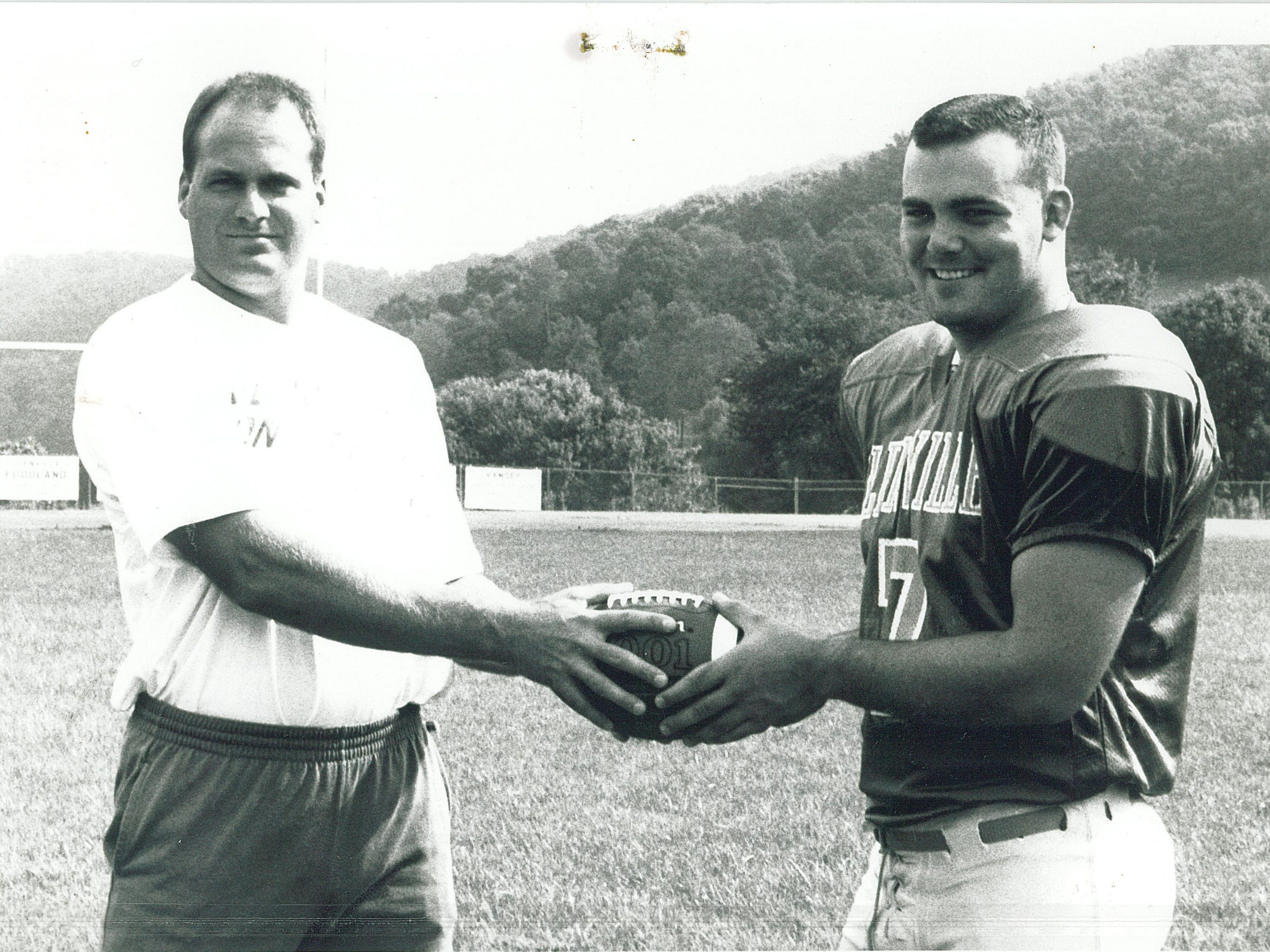 Rich Rodriguez and Glenville State quarterback Jed Drenning in 1992.