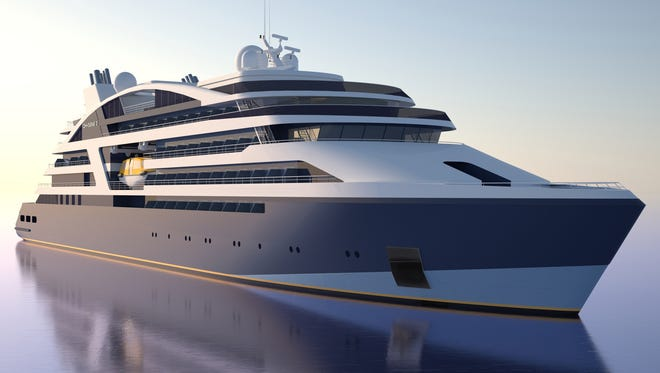 An artist's drawing of one of four new ships planned for small-ship line Ponant.