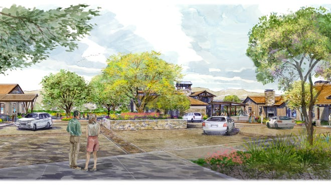 A rendering of the courtyard of Trilogy at Wickenburg Ranch.