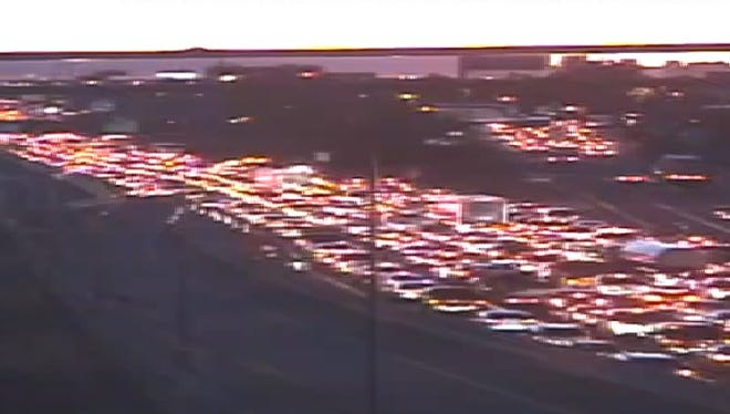A two-car crash on eastbound Interstate 10 at 51st Avenue in Phoenix halted the morning commute for hours on March 5, 2018.