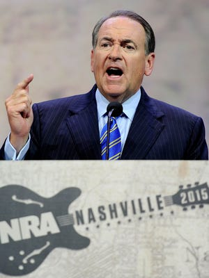 Former Arkansas Gov. Mike Huckabee speaks at the NRA-ILA Leadership Forum during the NRA Convention at Music City Center in Nashville, Tenn., Friday, April 10, 2015.