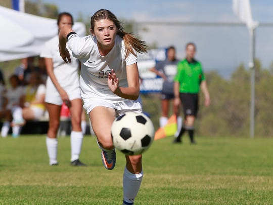 Piedra Vista's Cydnie Stock pursues the ball during a game against Bloomfield on Tuesday at Piedra Vista High School.