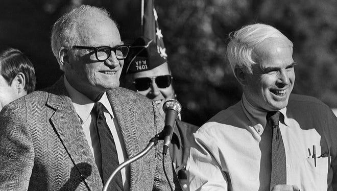 Barry Goldwater (left) and John McCain, circa 1986