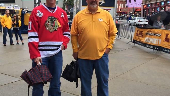 Brian Semitekol, left, attends the Nashville Predators Gold Walk with Jimmy Dean, right, Oct. 14, 2016.