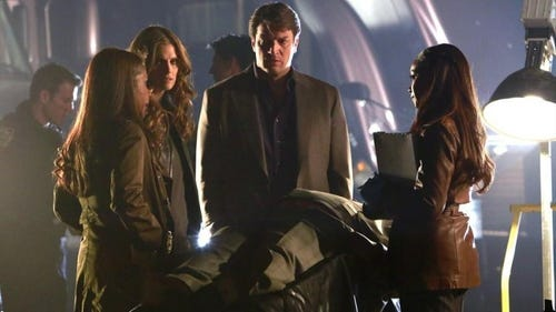 Gates, Beckett, Castle and Laney on the scene of the crime. (Photo: Ron Tom, ABC)