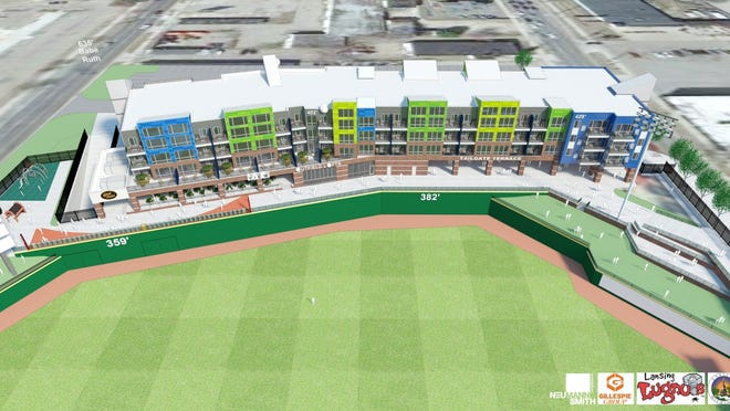 Updated artist's renderings of The Outfield, an 84-unit apartment building in the outfield of Cooley Law School Stadium in downtown Lansing. Developer Pat Gillespie intends to complete the building by opening day of the Lansing Lugnuts' season in 2016.