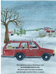 "Sisters-in-law Angie and Dana Karcher wrote and illustrated (respectively) the children's book ""Santa's Gift,"" which tells the story of an Evansville landmark. This page reads ""The highway hums a Christmas tune/as snowflakes start to fall./We drive past furrowed cornfields/and through country towns, so small."""