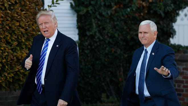 For $1 million the President and Vice President-elect will appear at your dinner. Trump and Pence are pictured in Bedminster, N.J.,  Nov. 19, 2016.