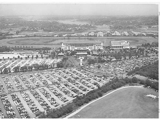 Aerial view of Monmouth Park in 1957.