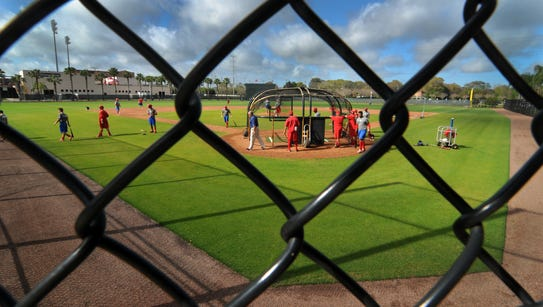 The Phillies take batting practice during spring training