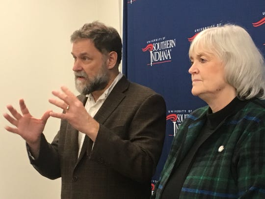 Dr. Bill Thomas and USI College of Nursing and Health Professions Dean Ann White answered questions from media about the MAGIC project in this file photo.