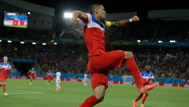 United States' Clint Dempsey celebrates after scoring the opening goal.
