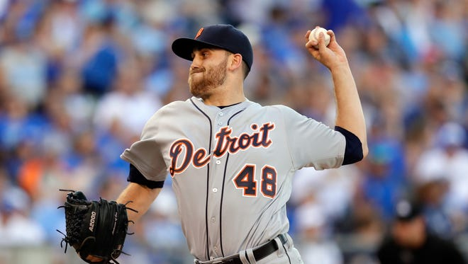 Starting pitcher Matt Boyd of the Detroit Tigers pitches during the 1st inning of the game against the Detroit Tigers at Kauffman Stadium on June 18, 2016 in Kansas City, Missouri.