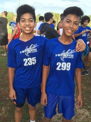 F.B. Leon Guerrero Hawks' Erjan Sanchez (left) and Jerald Bagain were the top two finishers at the Guam Interscholastic Sports Association's Middle School All-Island title at Okkodo High School on October 19. Bagain finished first and Sanchez finished second.