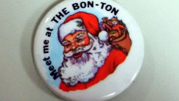 This is a close-up of the Christmas pin shared by Jean Doll of Manchester Township.