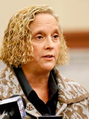York County Coroner Pam Gay speaks before the York County Heroin Task Force announces that it will now be governed by and an executive board as the York Regional Opiate Collaborative, naming Dr. Matthew Howie, of York City Bureau of Health, executive director at the York County Administrative Center in York City, Wednesday, Dec. 28, 2016. Dawn J. Sagert photo