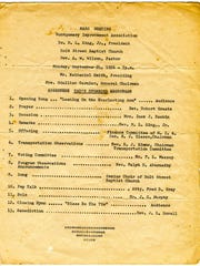 A typed program from one of the mass meetings at Holt Street Baptist Church during the Montgomery Bus Boycott. (Advertiser Files)