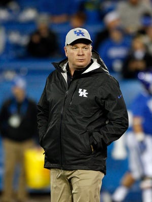 Nov 21, 2015; Lexington, KY, USA; Kentucky Wildcats head coach Mark Stoops looks on before the game against the Charlotte 49ers at Commonwealth Stadium.