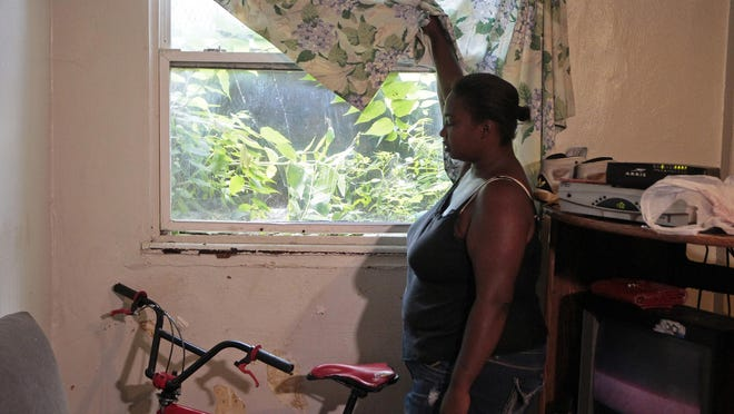Ashley Harris, 26, shows the view from the lone window in her one-bedroom apartment at the Entowne Manor apartment building in the Avondale neighborhood of Cincinnati, on Tuesday, July 21, 2015. Harris shares the small basement apartment with her wife, two children and two dogs.