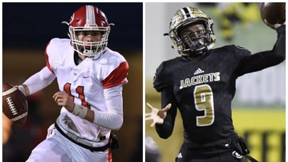 Junior quarterback Davis Beville, left, has passed for 2,421 yards with 36 touchdowns for Greenville. Junior quarterback Trey Houston, right, has passed for 1,829 yards with 30 touchdowns for Greer.