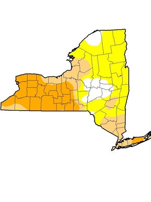 The U.S. Drought Monitor map, as of July 28, which shows severe drought in orange.