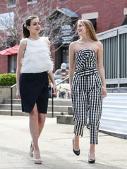 Finders Keepers pencil skirt, $120, and Line + Dot feathered shirt, $150, on Lucy Duane, left; and Kendall + Kylie check top, $60, and pants, $100, on Kaci Duke, all at Caden boutique.