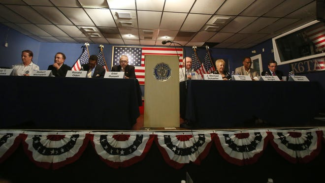 Palm Springs mayoral candidates from left: Guy T. Burrows, Robert Weinstein, Ronald Oden, Erbil Gunasti, Michael Schaefer, Ginny Foat, Ricky Wright and Robert Moon. There is no incumbent in the Nov. 3 election.