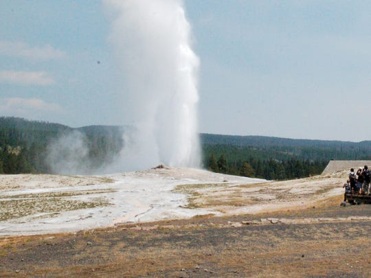 Old Faithful erupts on Aug. 4, 2018, in Yellowstone National Park. The geyser puts on its show about every 90 minutes.