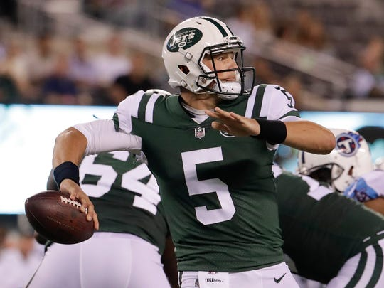 Christian Hackenberg, seen here playing in a preseason game, struggled with his accuracy during his time with the New York Jets. AP FILE PHOTO
