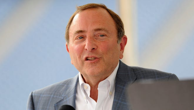 NHL Commissioner Gary Bettman speaks during a press conference for the Winter Classic hockey game at Gillette Stadium.