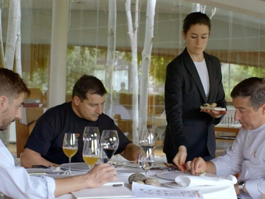 """A still of the three Roca brothers of El Celler de Can Roca in Spain from the documentary """"Cooking Up a Tribute."""""""