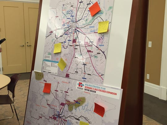 Nashvillians wrote notes on maps of three public transportation scenarios created by MTA and RTA.