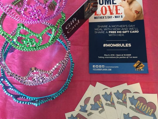 Zea Rotisserie & Grill is offering colorful tiaras and $10 gift cards to moms and temporary tattoos to kids on Mother's Day.