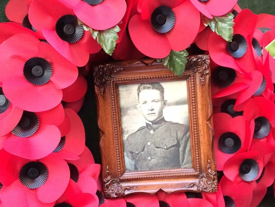 Diana Lambdin Meyer laid a poppy wreath in honor of