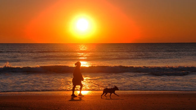 A woman jogs with her dog at sunrise in Cocoa Beach.