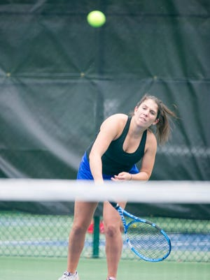 Castle's Chrissy Fuller serves as she finished first in No. 1 singles in the SIAC girls' tennis tournament at Wesselman Park on Friday.