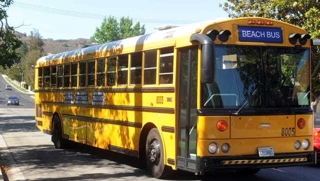 In this file photo, the Moorpark beach bus departs from its last stop at Peach Hill Park before heading to Zuma Beach.