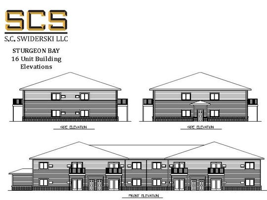 Initial drawing of exterior of 16-unit building