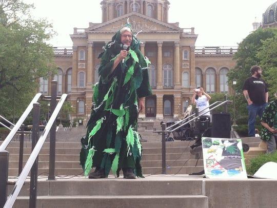 James Getman, 57, of Bluegrass, dressed in a marijuana
