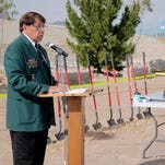"""Vietnam Veteran Joe """"Chinaboy"""" Lopez, CSM Retired, U.S. Army addresses the crowd on hand for the El Paso Vietnam Veterans Memorial Ground Breaking Ceremony at Flags Across America in northeast El Paso. Lopez is the peson that designed the memorial and with the help of many other veterans groups has been able to bring the memoriall to a reality. The memorial will be completed by the end of March 2016 when it will be officially dedicated."""